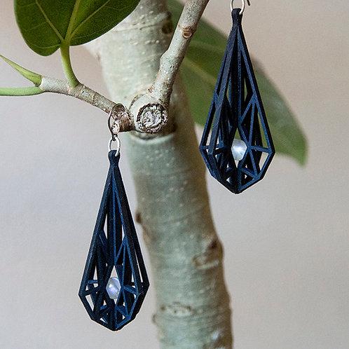 ヒノキピアス◯ヒンメリ 藍染 × ブルームーンストーン(ペリステライト)