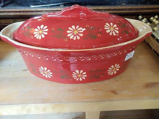 Terrine ovale ''rouge fleurs''