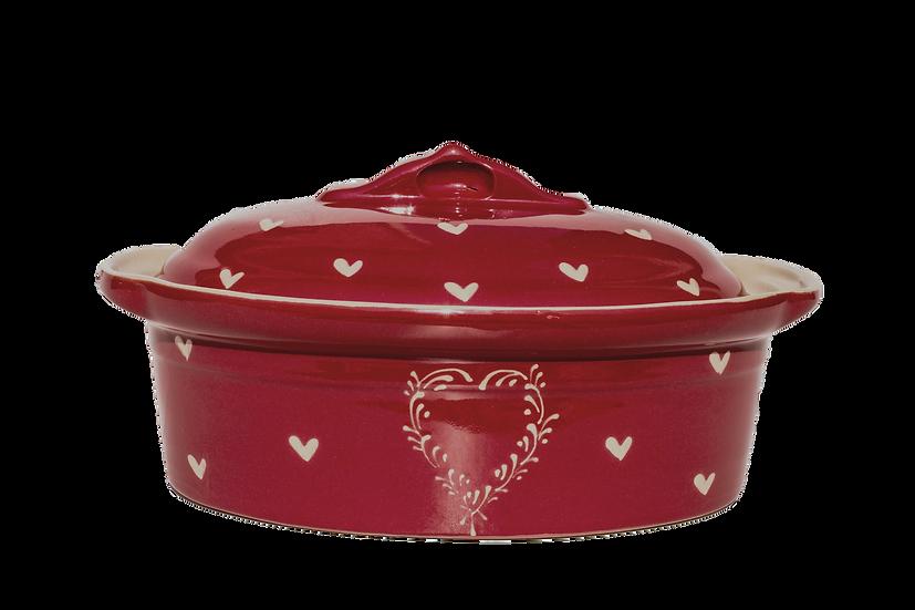 Terrine ovale ''cœur - rouge ''