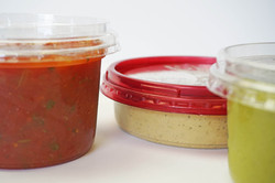 Fresh Hummus in a Container, Fresh Salsa in Containers, Fresh Guacamole in Containers