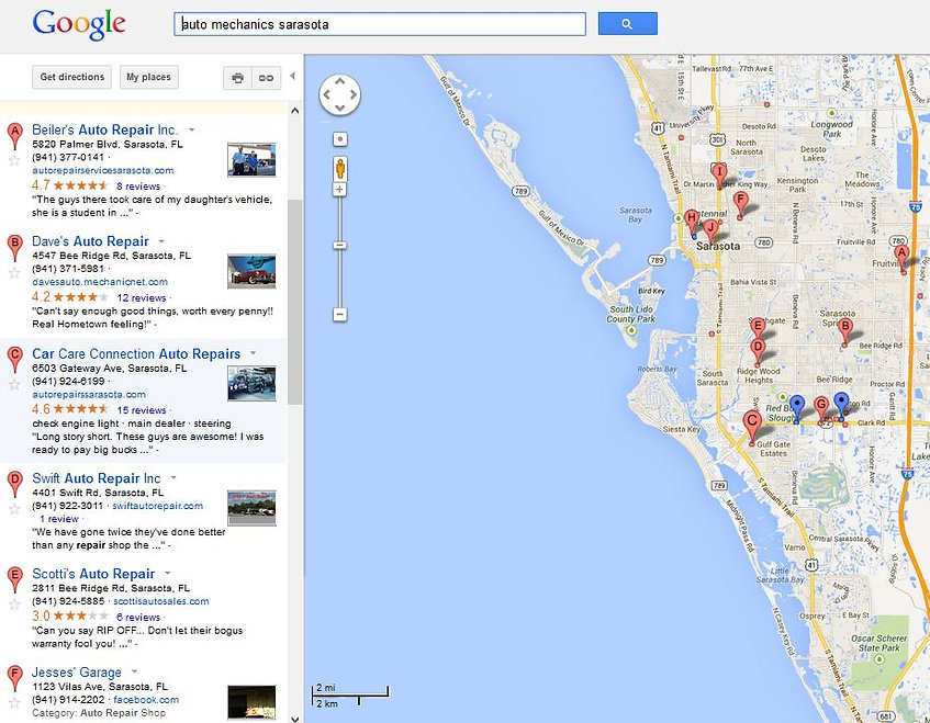 google maps optimization sarasota