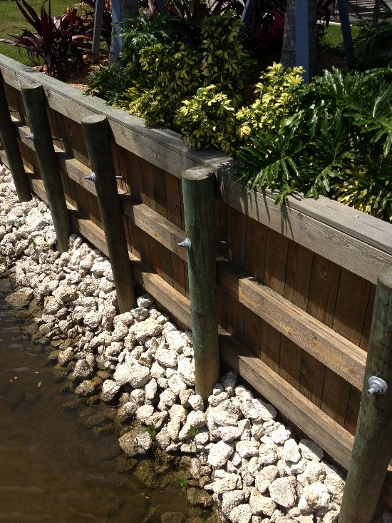 Wood Retaining Wall, Sarasota, FL