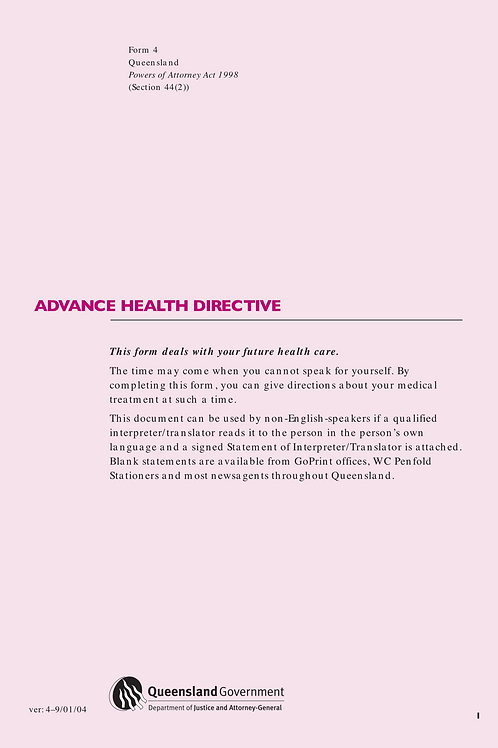 Advance Health Directive