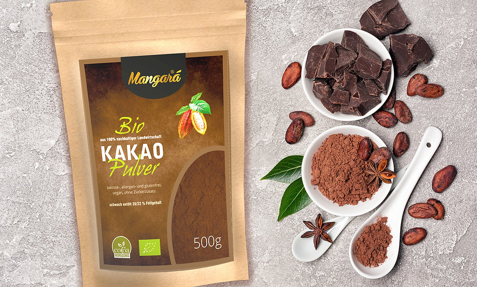 Mangara® Bio Kakaopulver 500g, schwach entölt, 20/22% Fettgehalt