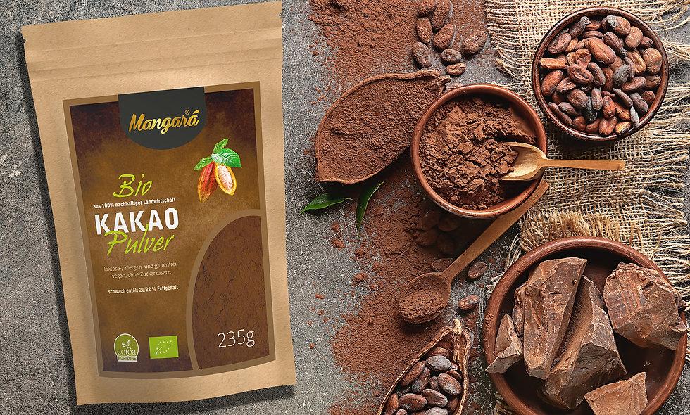 Mangara® Bio Kakaopulver 235g, schwach entölt, 20/22% Fettgehalt