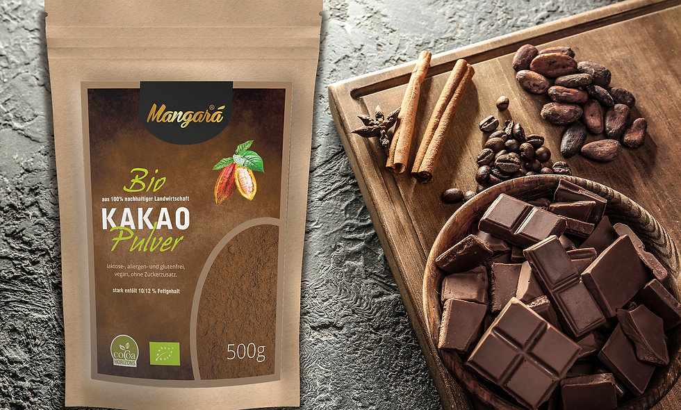 Mangara® Bio Kakaopulver 500g stark entölt mit 10/12% Fettanteil