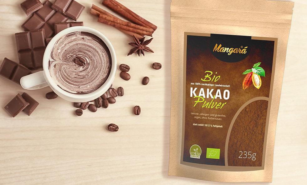 Mangara® Bio Kakaopulver 235 g stark entölt mit 10/12% Fettanteil