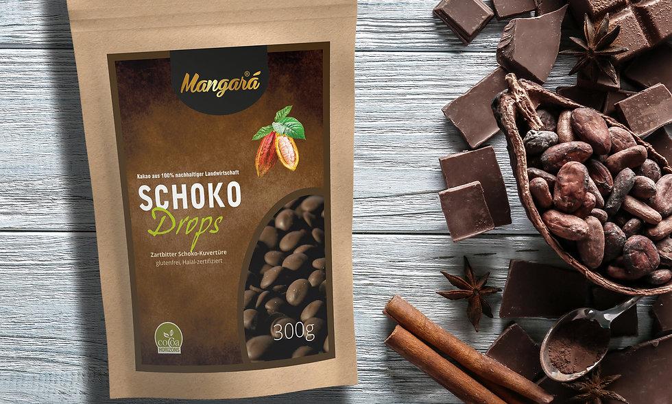 Mangara® 300g Zartbitter Schokoladen Drops  (2,58€/100g)