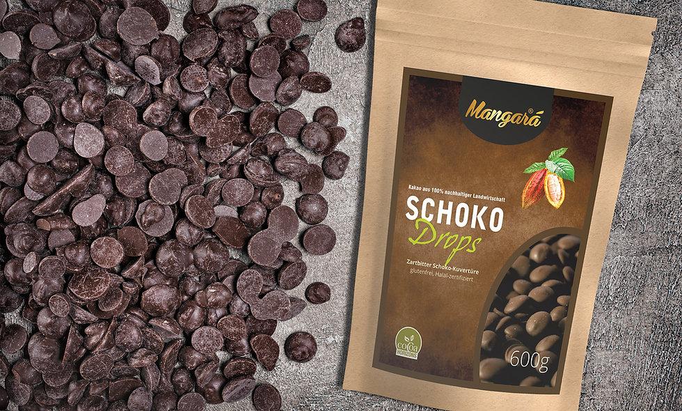 Mangara® 600g Zartbitter Schokoladen Drops (2,23€/100g)