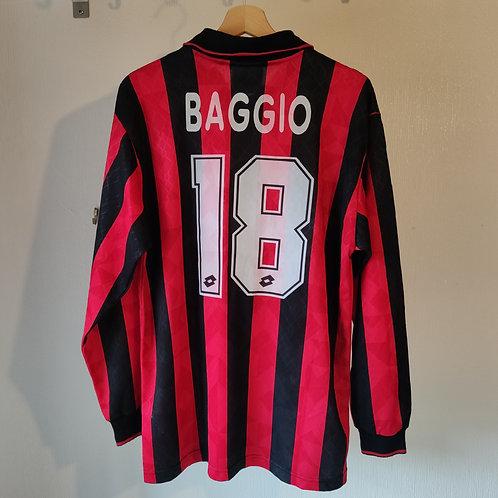 AC Milan 95/96 Player Spec Home LS - Baggio 18 - Size L