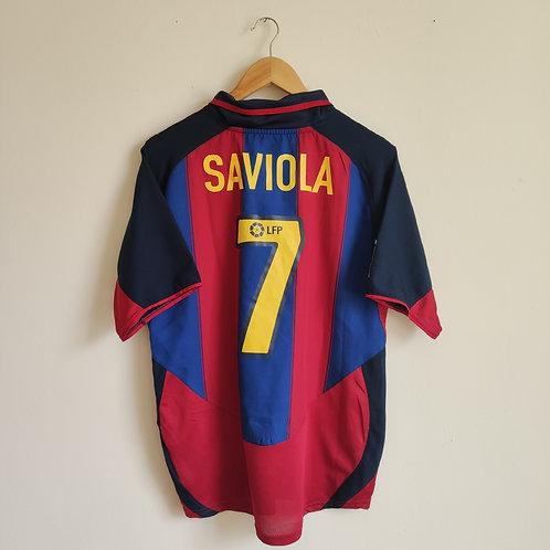 Barcelona 03/04 Home - Saviola 7 - Size M