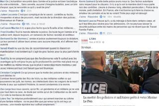 « La moitié des policiers et militaires prêts à voter Marine Le Pen »