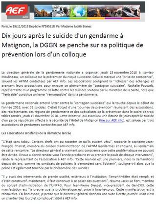 Dépêche AEF - Journée DGGN sur la prévention du risque suicidaire
