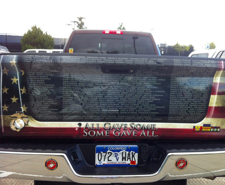 Truck at Veterans Plaza - Names of Falle