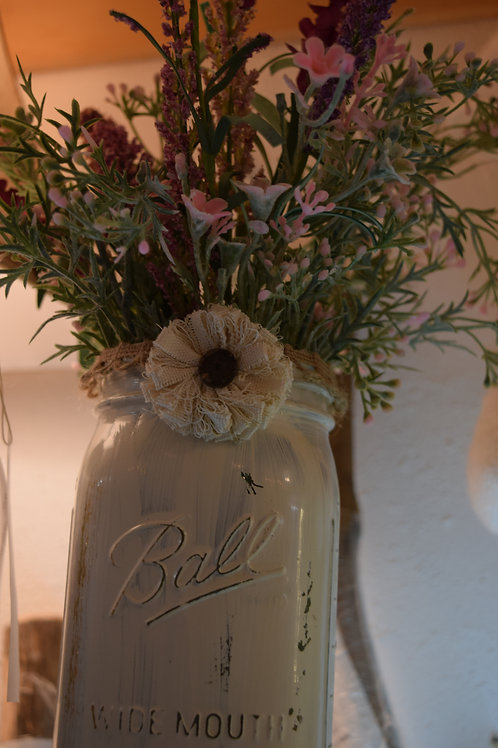 BALL JAR WITH FLOWERS