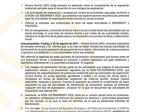 """""""Avanzan trabajos de barrenación en zona adyacente al Proyecto Ixtaca"""""""