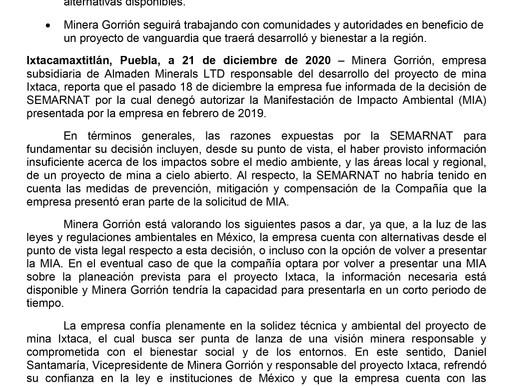 Informa MG de decisión sobre permiso ambiental