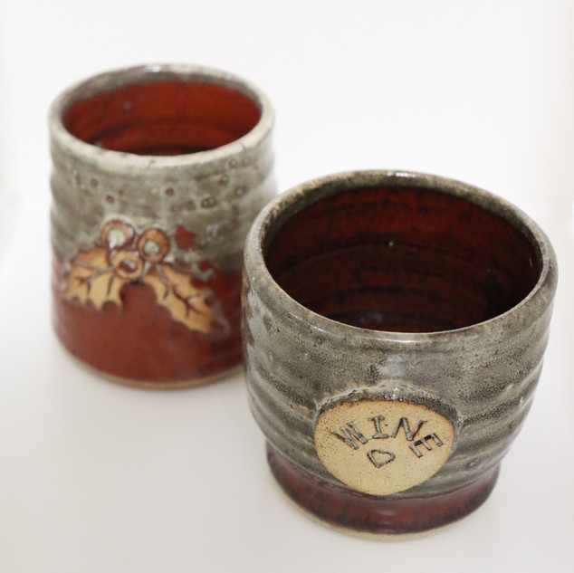 Christmas cup and wine cup - glazed with