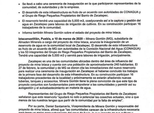 Comunicado de Minera Gorrión S.A. de C.V. ¡Gracias por su confianza!