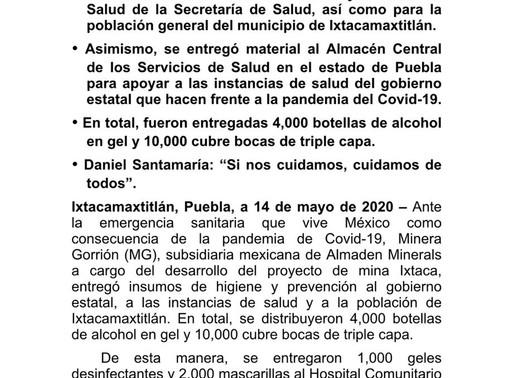 """Apoyo a las comunidades COVID- 9  """"Minera Gorrión"""""""