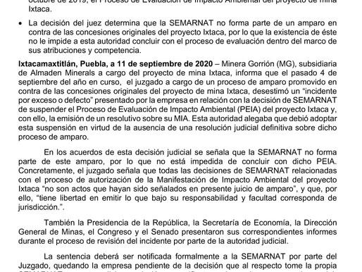 Resolución judicial relacionada con el proceso de Evaluación de Impacto Ambiental de Ixtaca