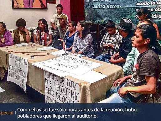 Culpan a la Semarnat de posponer reunión en Ixtacamaxtitlán