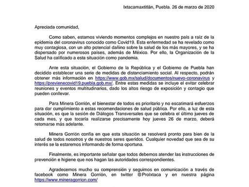 Comunicado de Minera Gorrión S.A. de C.V.