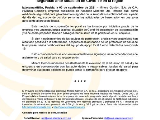Suspensión de barrenación por dos semanas como medida de seguridad ante situación de Covid-19