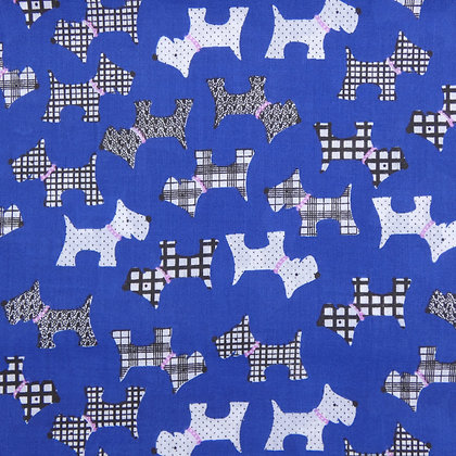 Scottie Dogs Face Mask - Electric Blue