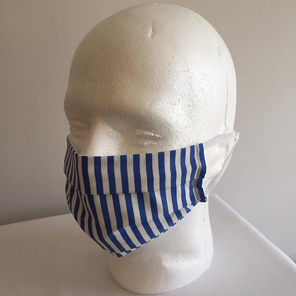 Blue and White Stripes Face Mask