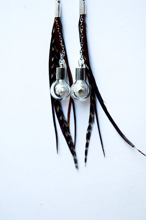 Feather white flower globe earrings
