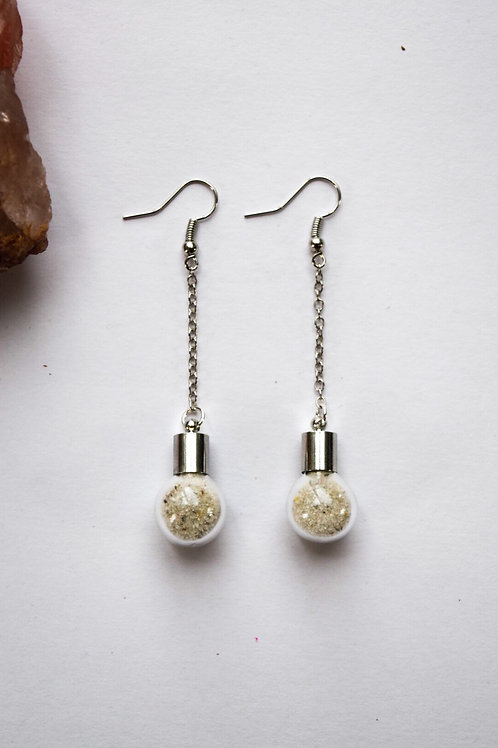 White Sand Globe Earrings