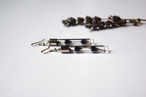 Lavender earrings cylindrical short