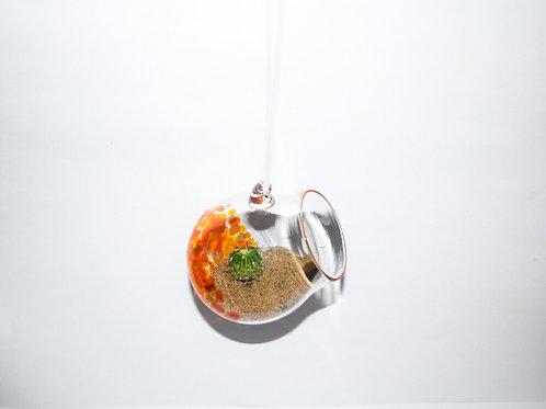 Small and Large hanging glass terrarium, orange
