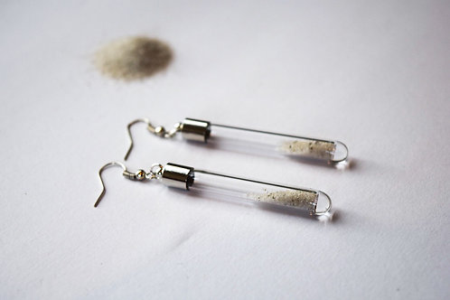 Long white sand tip earrings