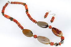 Norwegian Shores of Coral necklace & earring set