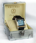 Vecceli watch w/black leather band