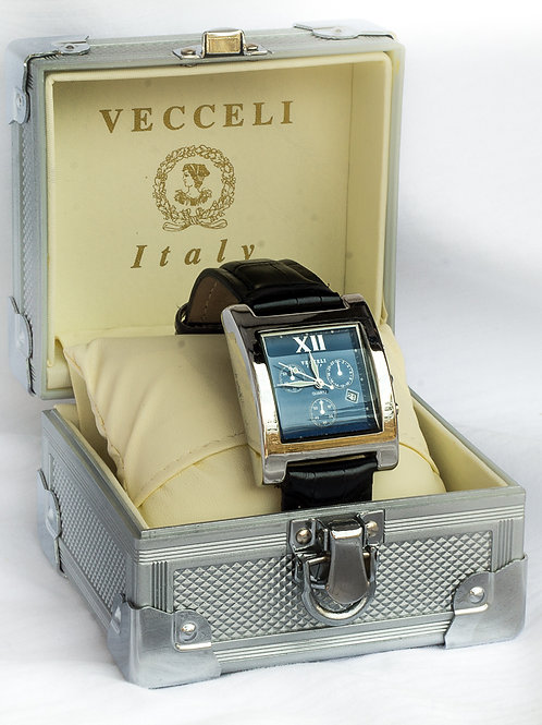 MENS BLACK LEATHER BAND VECELLI WATCH