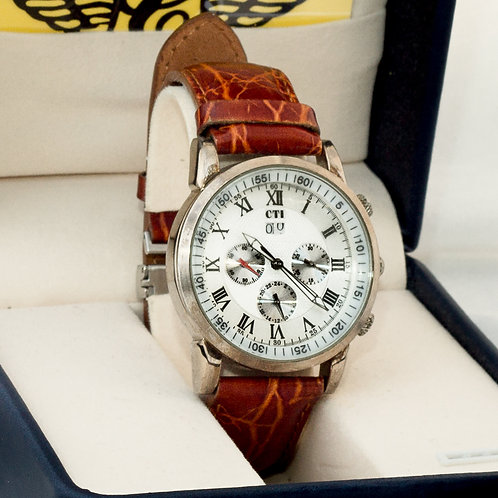 CTI RED/BROWN LEATHER BAND MENS WRIST WATCH