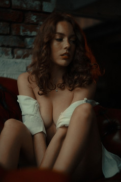 dramatic portrait women sexy topless nude redhead nsfw