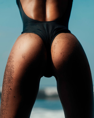 Black bikini swimwear sexy butt ass beach bali model