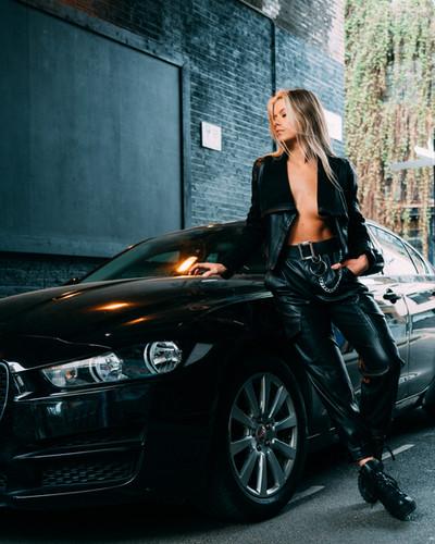 Women Leather Jacket Cinematic Fashion dramatic london