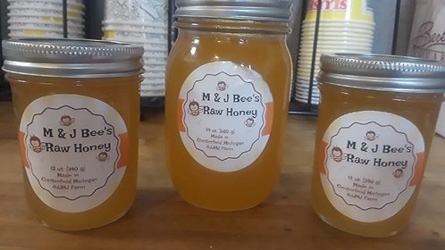 M & J Bee's Raw Honey 12oz