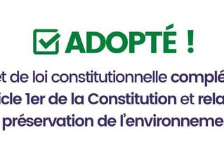 CLIMAT - Vote du projet de loi introduisant le climat dans notre Constitution