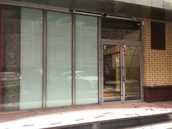 Алюминиевая дверь встроенная в фасадное остекление