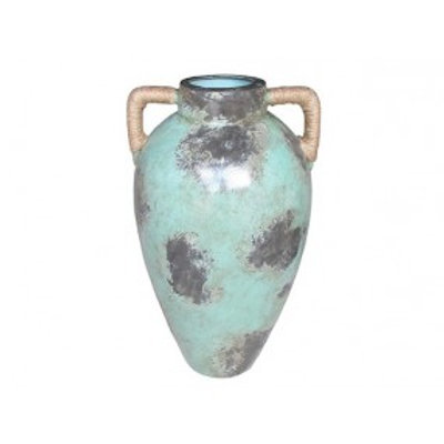 "Sienna Water Jug Ceramic Vase, Light Blue 18"" Tall 10.5"" Diameter"
