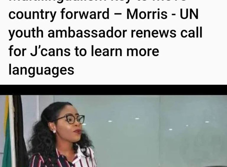 Multilingualism Key To Move Country Forward – Morris - UN Youth Ambassador Renews Call For J'cans To