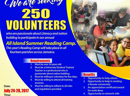 Jamaica Intensive Reading Clinic Calling For 250 Volunteers.