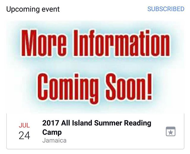 Are you ready for our 2017 All Island Summer Reading Camp_ This year's Summer Camp will be held from
