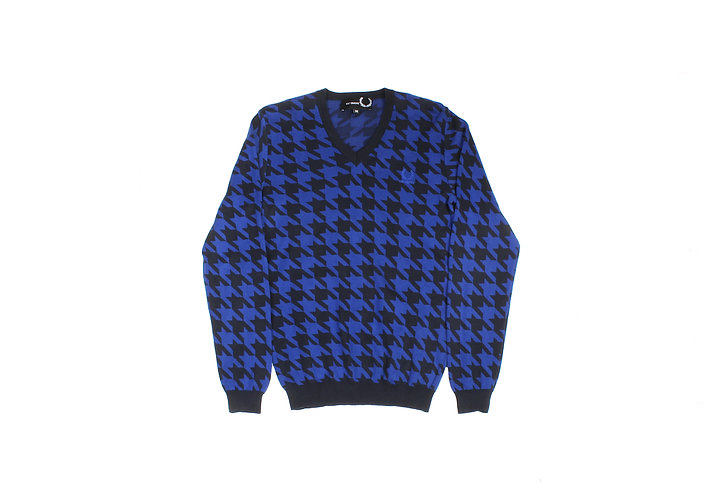 Raf Simons x Fred Perry SS13 Houndstooth V-Neck Sweater